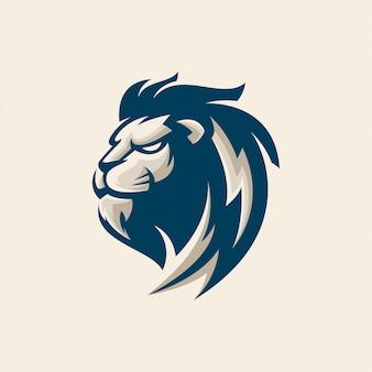 Голова льва дизайн логотипа премиум