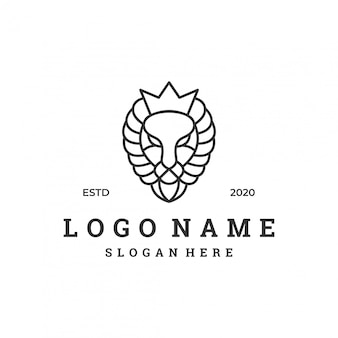 Lion head logo design template.