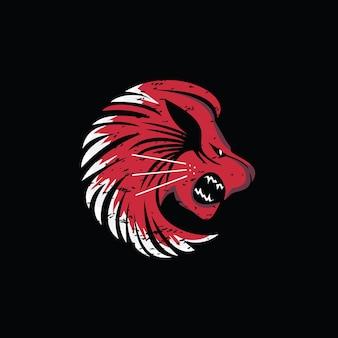 ライオンの頭のロゴ要素現代美術の獣