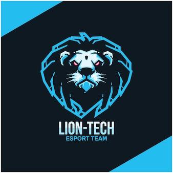 スポーツまたはeスポーツチームのライオンヘッドのロゴ。