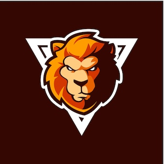 Lion head logo icon with triangle