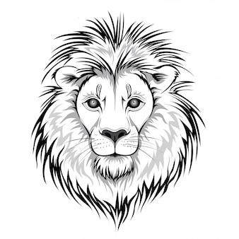 ライオンヘッドのロゴ。白い背景の上の動物のイラスト。
