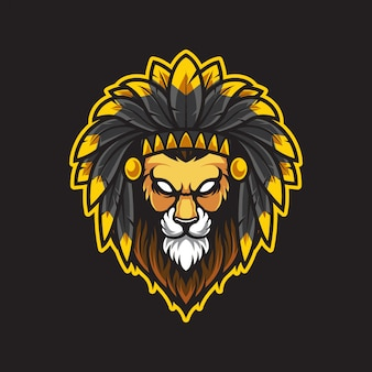 Lion head logo illustration