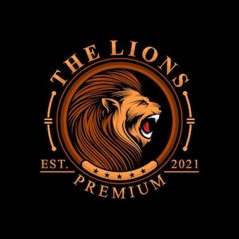 Lion head logo isolated on black