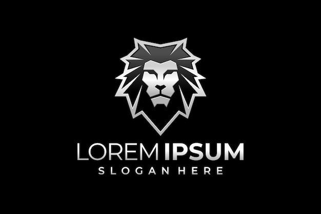 Lion head logo in silver