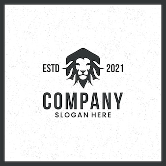 Lion head logo, strength, black and white, trademark, with hexagon concept