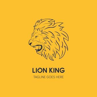 ライオンヘッドロゴテンプレート。手描きのクリエイティブなロゴ