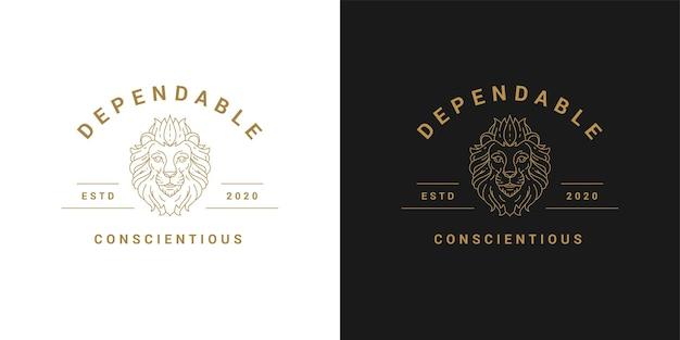 Lion head logo template linear vector illustration
