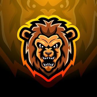 Lion head mascot esport illustration