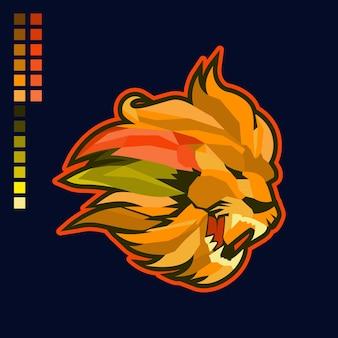 ライオンヘッドマスコットイラストロゴ