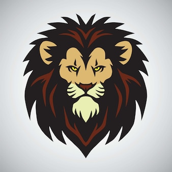 Lion head mascot logo design vector illustration