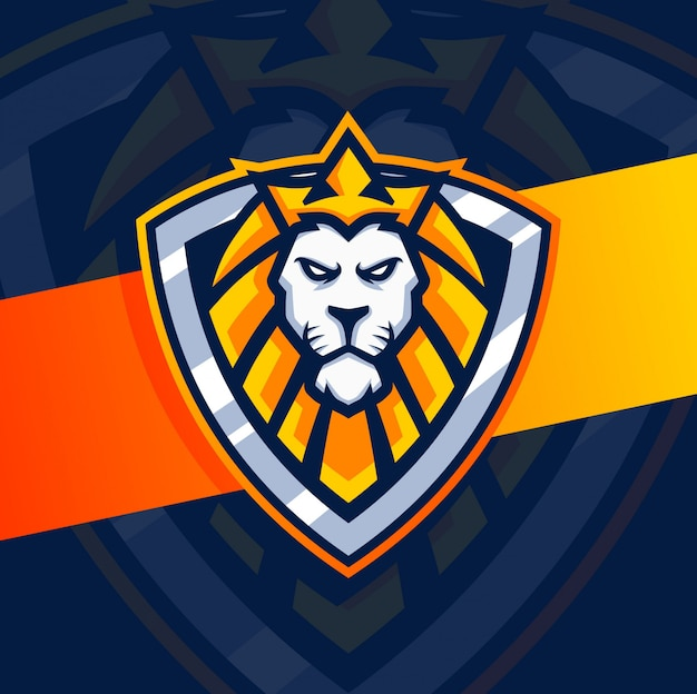 Lion head mascot logo design