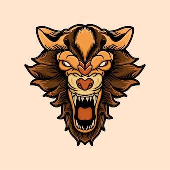 Lion head mascot logo design