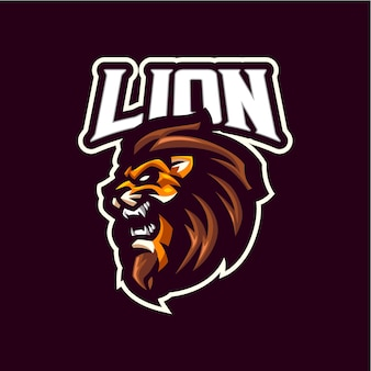 Lion head mascot logo for esports and sports team
