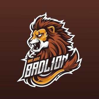 Eスポーツおよびスポーツチームのライオンヘッドマスコットロゴ