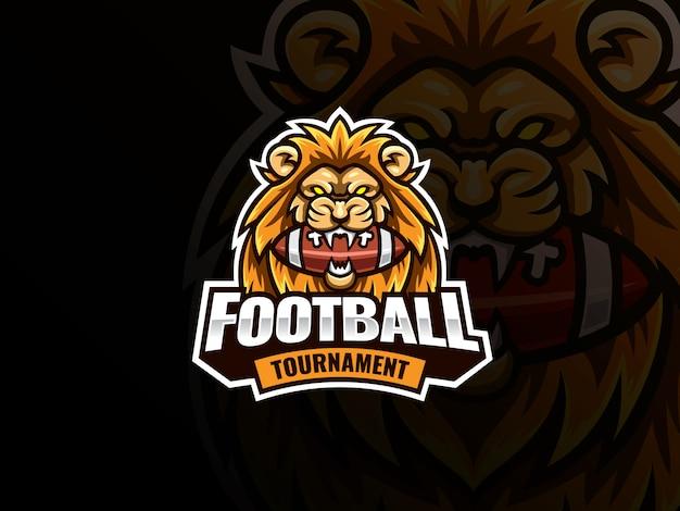 ライオンヘッドマスコットスポーツロゴデザイン。アメリカンフットボールマスコットベクトルイラストロゴ。ライオンはボールを噛んだ
