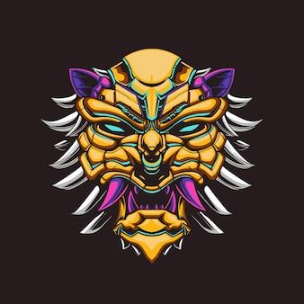 Lion head mecha illustration