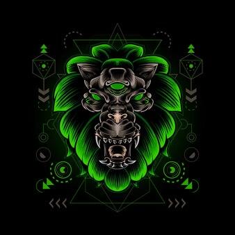 Лев голова монстра сакральная геометрия иллюстрация