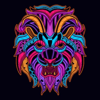 Lion head in neon color art style