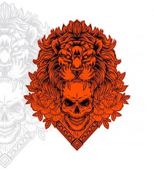 Lion head outline illustration, lion head vector