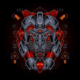 Робот-голова льва со сакральной геометрией