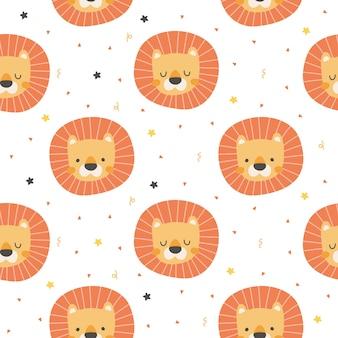 ライオンヘッドのシームレスパターン