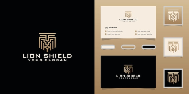 Lion head shaped shield logo design template and business card