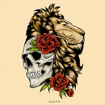 Lion head and skull illustration, lion head vector, editable and detailed