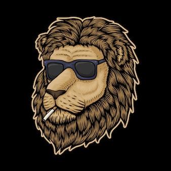 Lion head smoke illustration