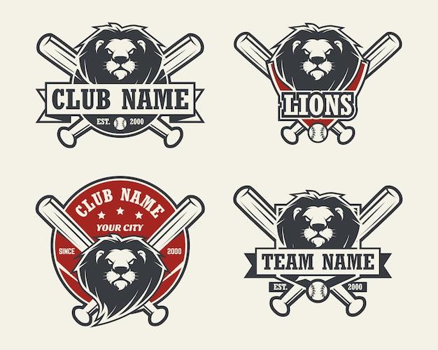 ライオンヘッドスポーツのロゴ。野球のエンブレム、バッジ、ロゴ、ラベルのセット。