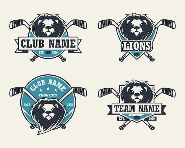 Голова льва спортивный логотип. набор хоккейных логотипов.
