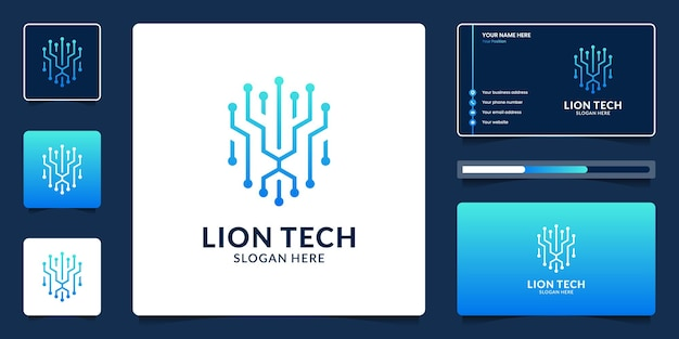 Lion head technology logo design and business card template.