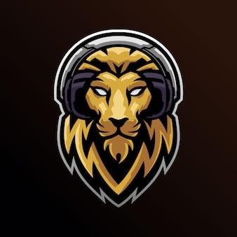 Lion head wearing headset logo mascot