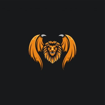 Lion head and wing design ilustration
