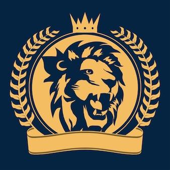 王冠のサインと月桂樹の花輪、王室の猫のプロフィールアイコンとライオンの頭。ゴールデンラグジュアリーエンブレム。ベクター