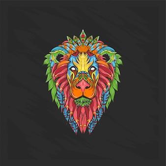 花とユニークな色のライオンヘッド
