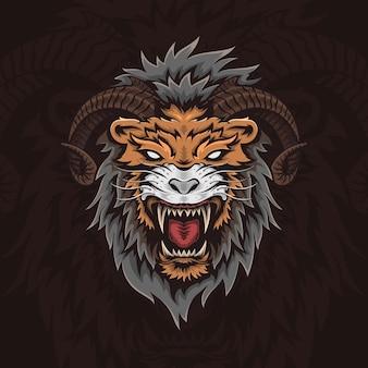 ホーンベクトルイラストとライオンの頭
