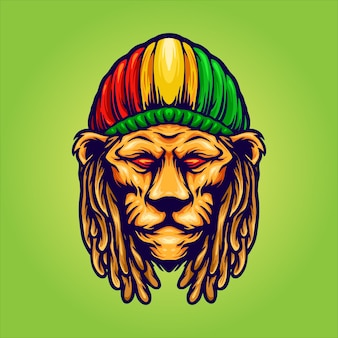 Lion head with jamaican hat mascot