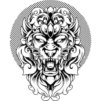 Lion head with ornament silhouette