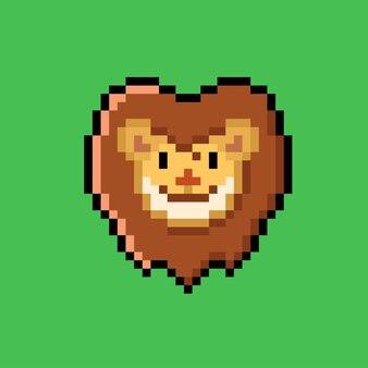 Голова льва в стиле пиксель-арт