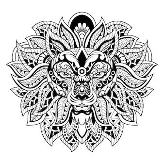 사자 머리 zentangle 스타일 흰색과 검은색