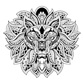 Lion head zentangle style white and black