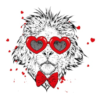 Lion and hearts for valentine's day