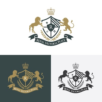 Lion and horse luxury logo. crests logo. logo design for hotel ,resort, restaurant, real estate ,spa, fashion brand identity