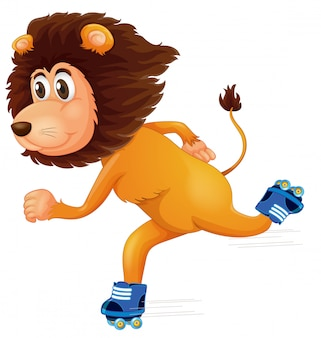 A lion ice skating