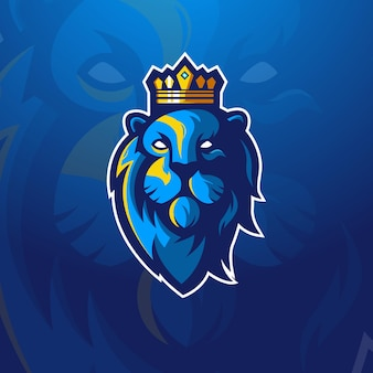 Lion king esport mascot logo design illustration vector