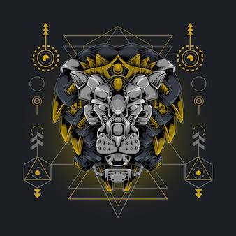 Сакральная геометрия в стиле киборга с головой короля льва