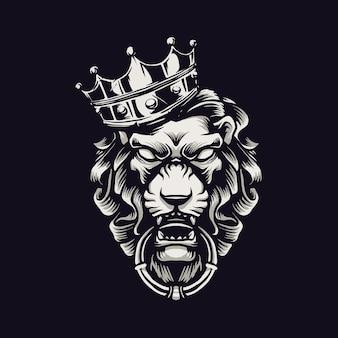 王冠とライオンキングの頭のイラスト