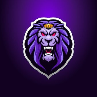 Lion king head logo mascot