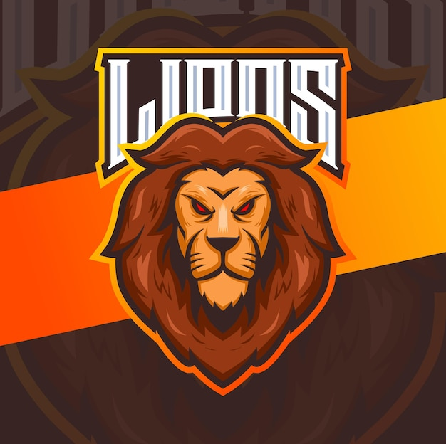 Lion king head mascot character esport logo for sport and game
